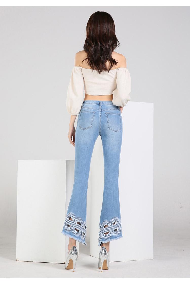 KSTUN FERZIGE high waist women jeans stretch light blue hollow out embroidery slim fit bell bottom pants fashion women's jeans size 36 18