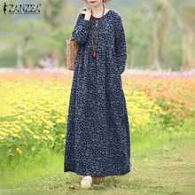Fashion Floral Dress Women's Spring Sundress 2021 ZANZEA Casual Long Sleeve Maxi Vestidos Female Hollow Printed Robe Plus Size