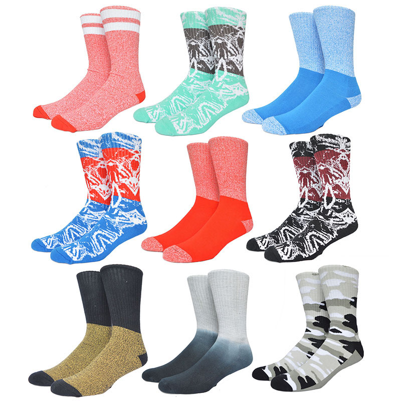 Socks Colorful Sock American Hip Hop Basketball Socks Men Cotton Towel Skateboard Running Skiing Cycling Outdoor Sport Print Sox