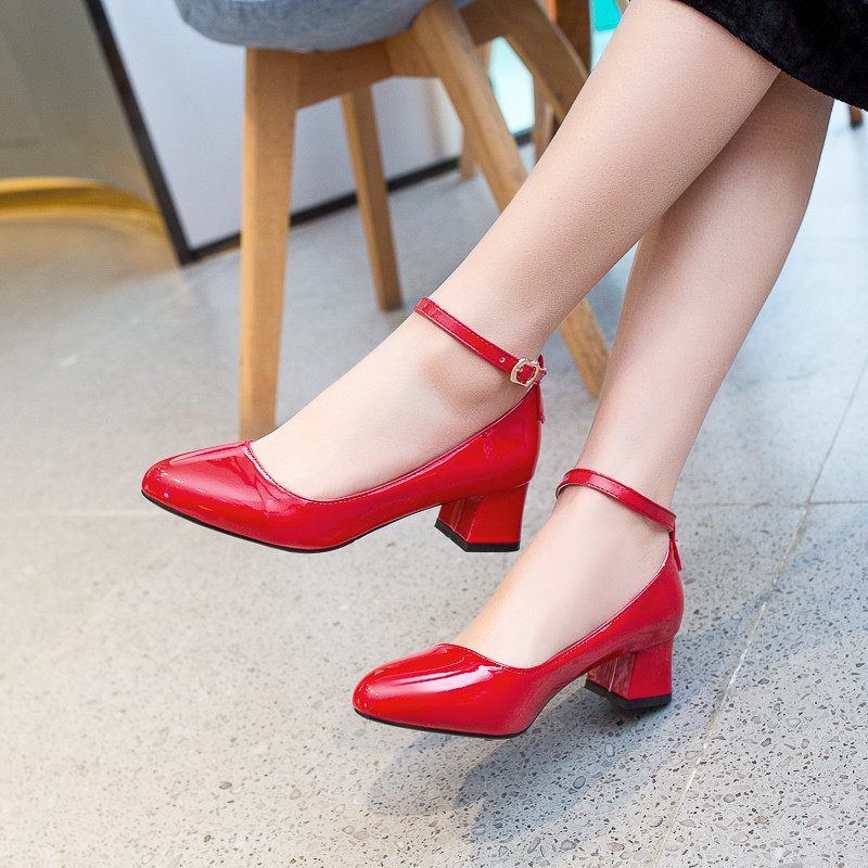 YMECHIC Summer 2019 Patent Pu Block High Heels Ankle Buckle Mary Jane Office Dress Shoes Red Black Pink Womens Pumps Big Size