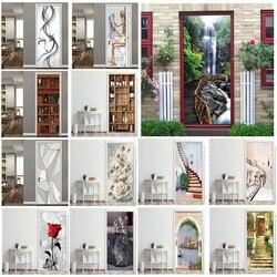 Adesivo de porta 3d 95x21 de 5cm/papel de parede personalizado, criativo, autoadesivo, para portas, faça você mesmo, renovação, poster à prova d' água para quarto