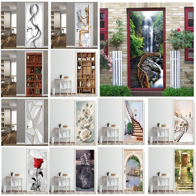 Creatieve 3D Deur Sticker 95X215 Cm/Custom Size Zelfklevende Behang Op De Deuren Diy Renovatie Waterdichte poster Voor Slaapkamer