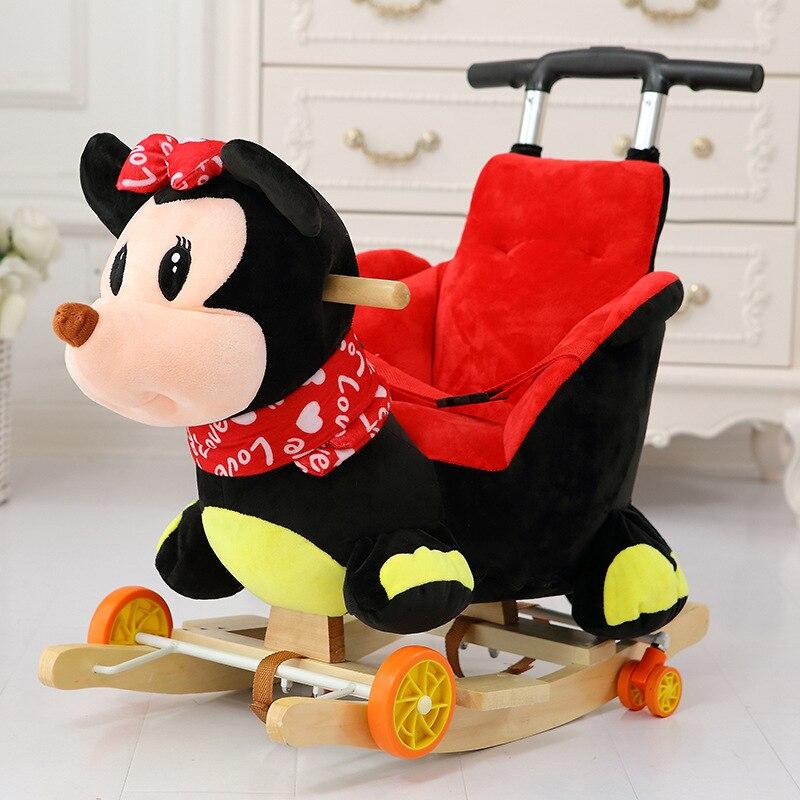 Multi funktion Holz & plüsch tier Einhorn Elefant Bär Schaukel Pferd Trojaner spielzeug Schaukel Stuhl baby wagen Kind trolley auto - 6