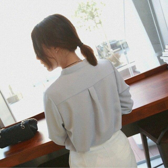 2020 Summer Women Chiffon Blouse New Fashion Female Long Sleeve Casual Soild Thin Shirt V-neck Blouses Pullover Tops 4