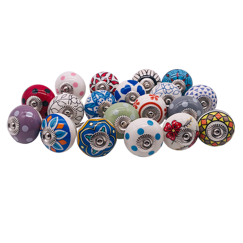 Dotted Mix Color Multi Designed Ceramic Cupboard Cabinet Door Knobs Drawer Pulls & Chrome Hardware - Hand Painted Pulls 1piece