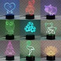 Luz de noche junto a la cama para niños, luz LED colorida 3D con Control remoto táctil y batería USB, regalo de San Valentín