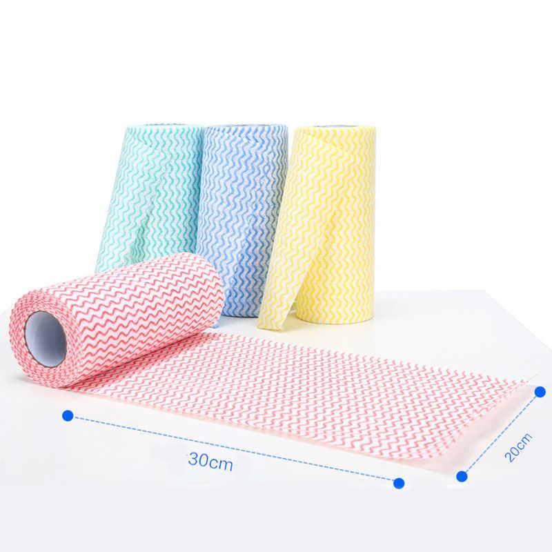 50 個ロール不織布洗濯タオルキッチンタオル使い捨てストライプ実用ぼろ拭く Souring パッド