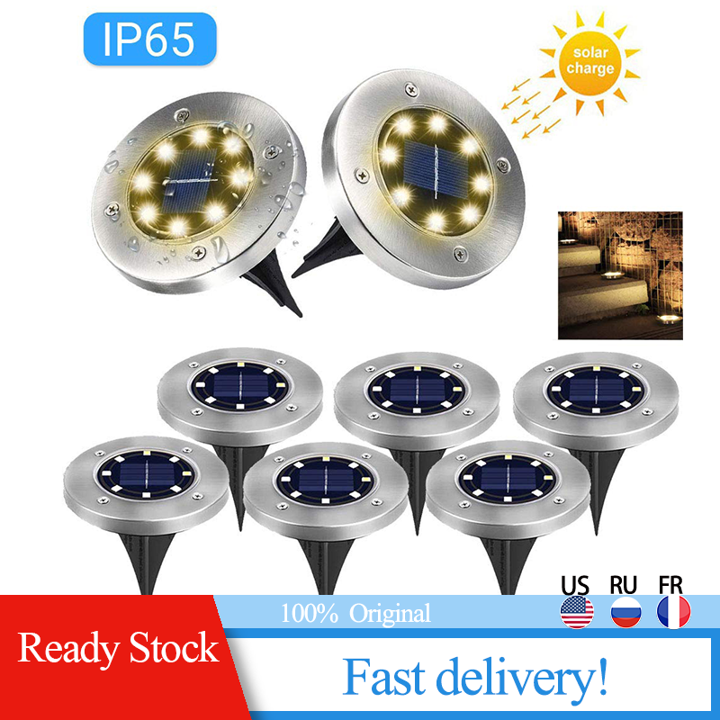 Waterproof Solar Ground IP45 Lights 8 LED Outdoor Solar Disk Lights In-Ground Lights Solar Garden Landscape Lights For Pathway