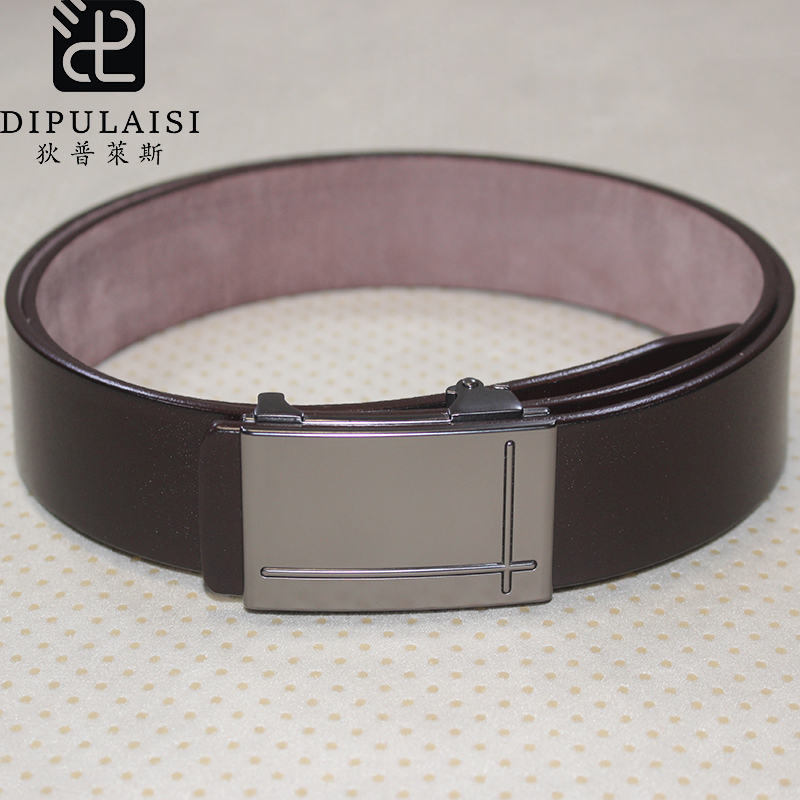 2020 Hot Sale Dipulaisi Genuine New Men's Belt Fashion Simple Belt Automatic Smooth Buckle Frosted Textured Leather Black Brown