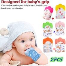 2 pçs colorido bebê segurança silicone luvas dentição mitten cartoon em forma de luva mordedor macio acessórios do bebê brinquedos do bebê luvas