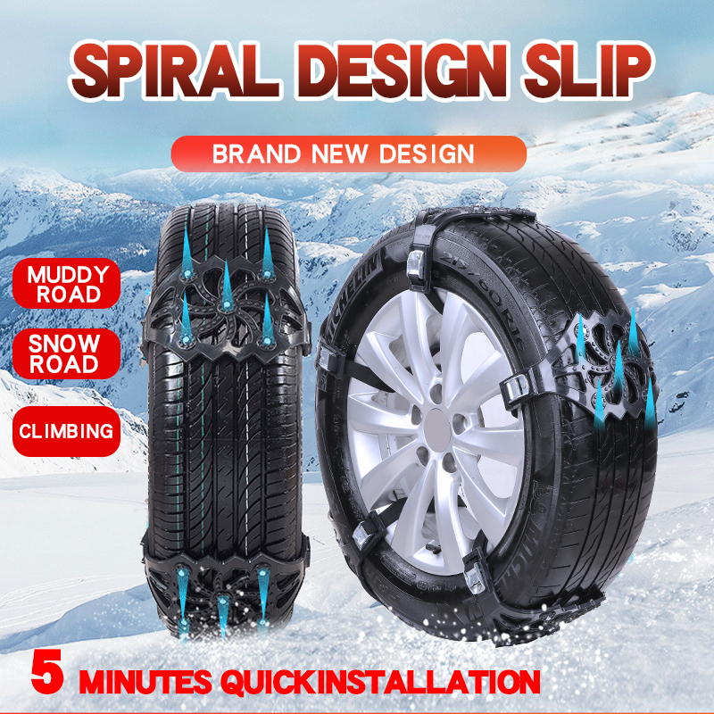 4pcs/8pcs set Car Tyre Winter Roadway Safety Tire Snow Chains Adjustable Safety Double Snap Skid Wheel TPU Anti-skid chains
