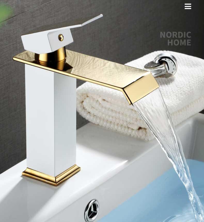 H6ed66d5542c3447680e4db9ce8fa4ea8k Basin Faucet Gold and Black Waterfall Faucet Brass Bathroom Faucet Bathroom Basin Faucet Mixer Tap Hot and Cold Sink faucet