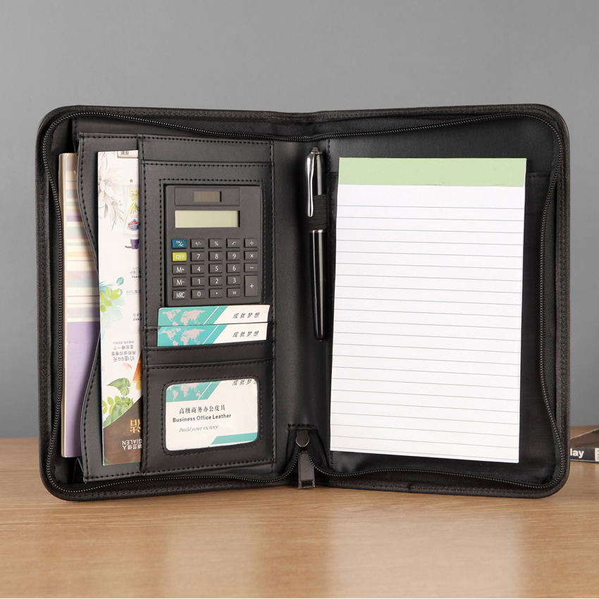 Travel business document bag briefcase A5 padfolio file folder with zip zipper notepad writing pad pocket for documents ipad(China)