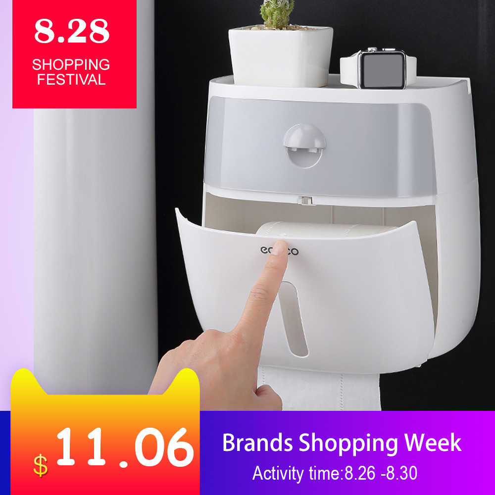 Bathroom Waterproof Tissue Box Plastic Bath Toilet Paper Holder Wall Mounted Paper Storage Box Double Layer Dispenser for Kitche