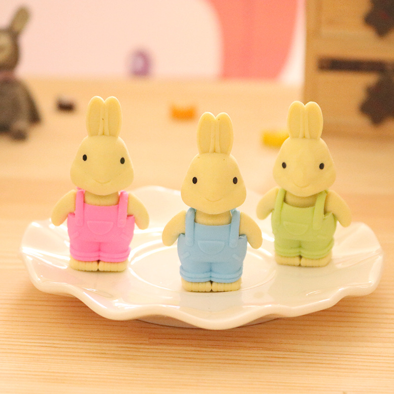 3 Pcs/lot Cute Rabbit Eraser Cartoon Animal Writing Drawing Rubber Pencil Eraser Stationery For Kids Gifts School Suppies
