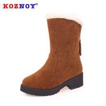 Koznoy Snow Boots Women Autumn Winter Flat Bottom Dropshipping Warm Short Slip Fashion Causal Cotton Shoes