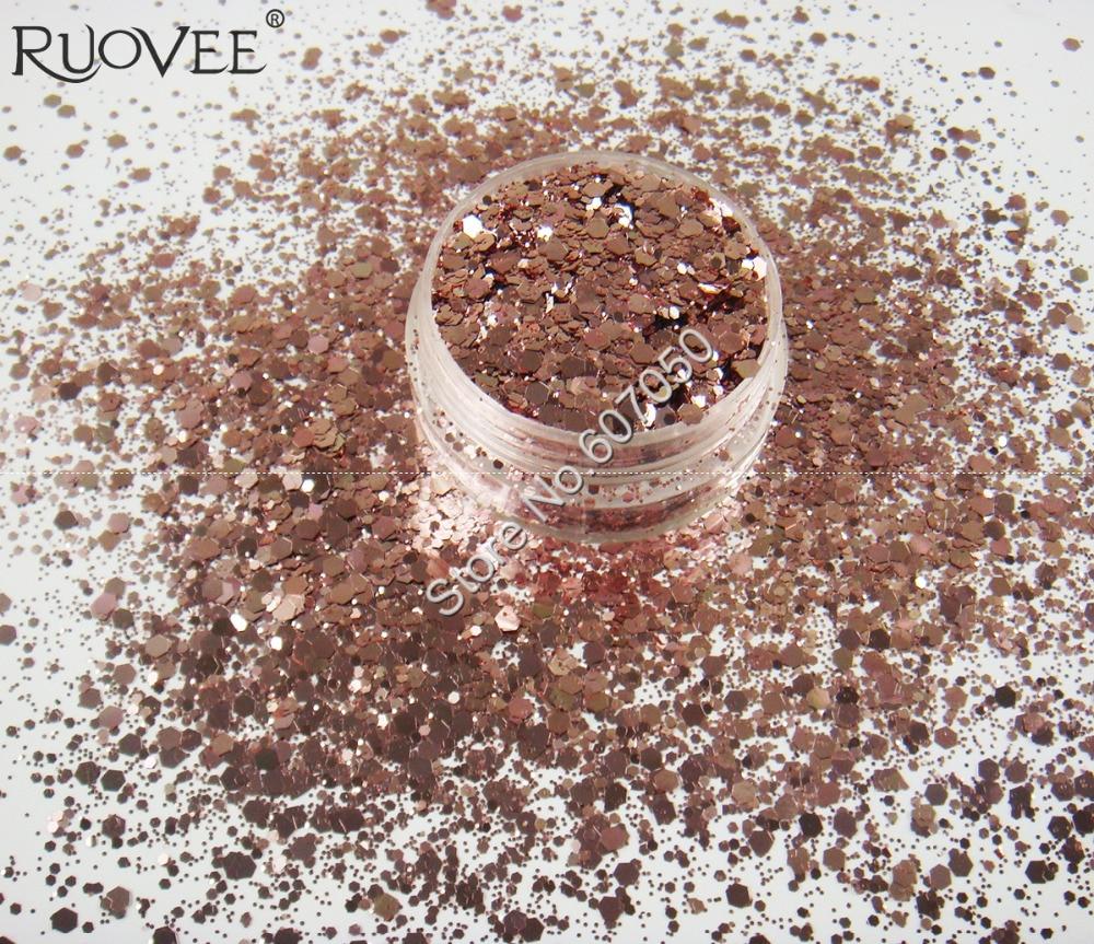 Wholesale Mix Rose Gold Color Metallic Luster Glitter Hexagon Sequin Paillette Spangle Powder Shape for Nail Art Glitter Craft