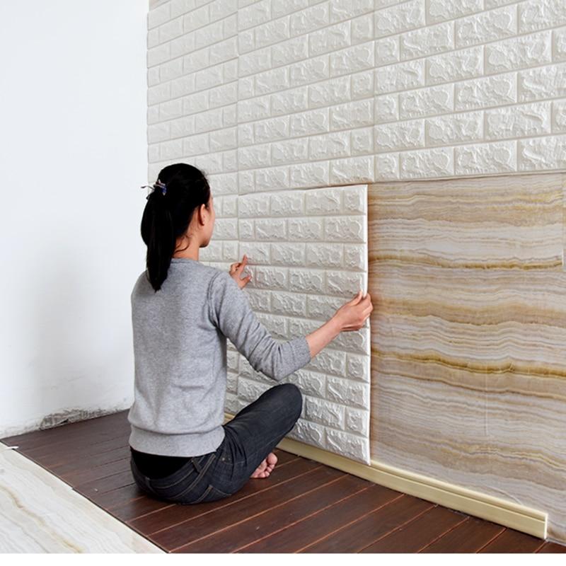 Papel de parede autoadesivo 3d, adesivos de parede para sala de estar, saco de parede macio, papel de parede decorativo à prova d' água e azulejos