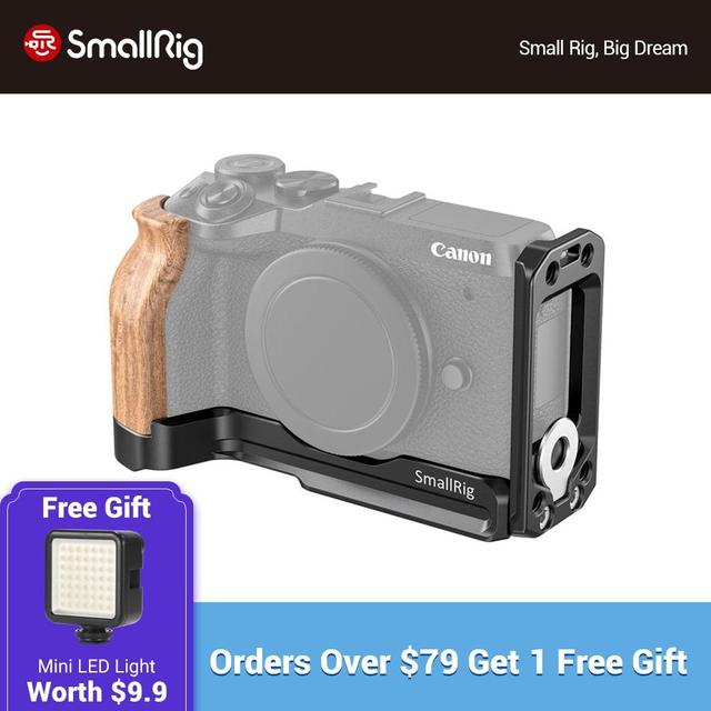 SmallRig M6 L Bracket Plate With Wooden Handgrip for Canon EOS M6 Mark II Arca Swiss Standard L Plate Mounting Plate  2516