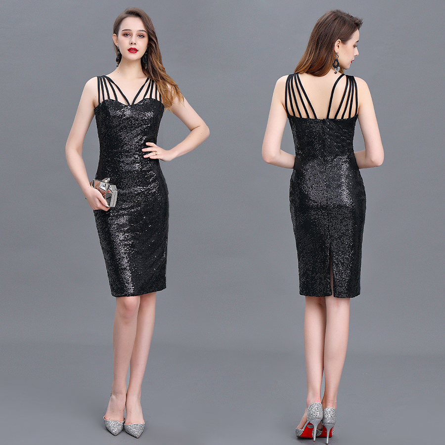 Cocktail Dress Short Dress Sexy Special Occasion Spaghetti Straps Knee-length No Sleeves Sheath Polyester Dress