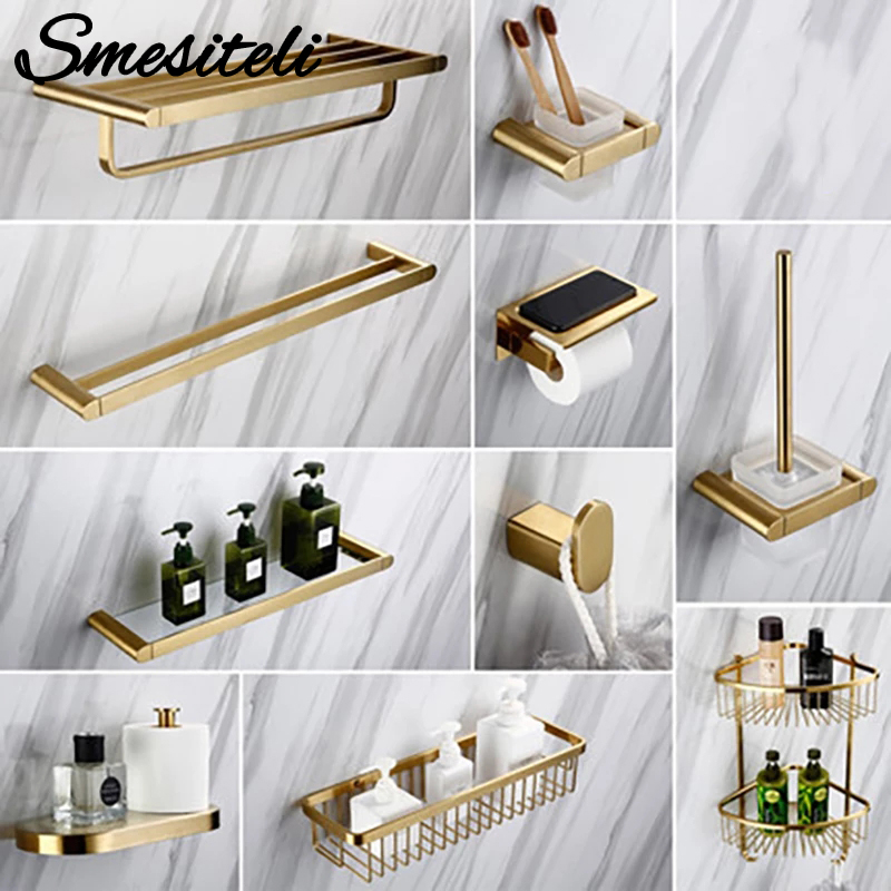 Smesiteli Luxury Golden Bathroom Hardware Sets 304 Stainless Steel Brushed  Paper Holder Towel Rack Soap Dishes Bathroom Product