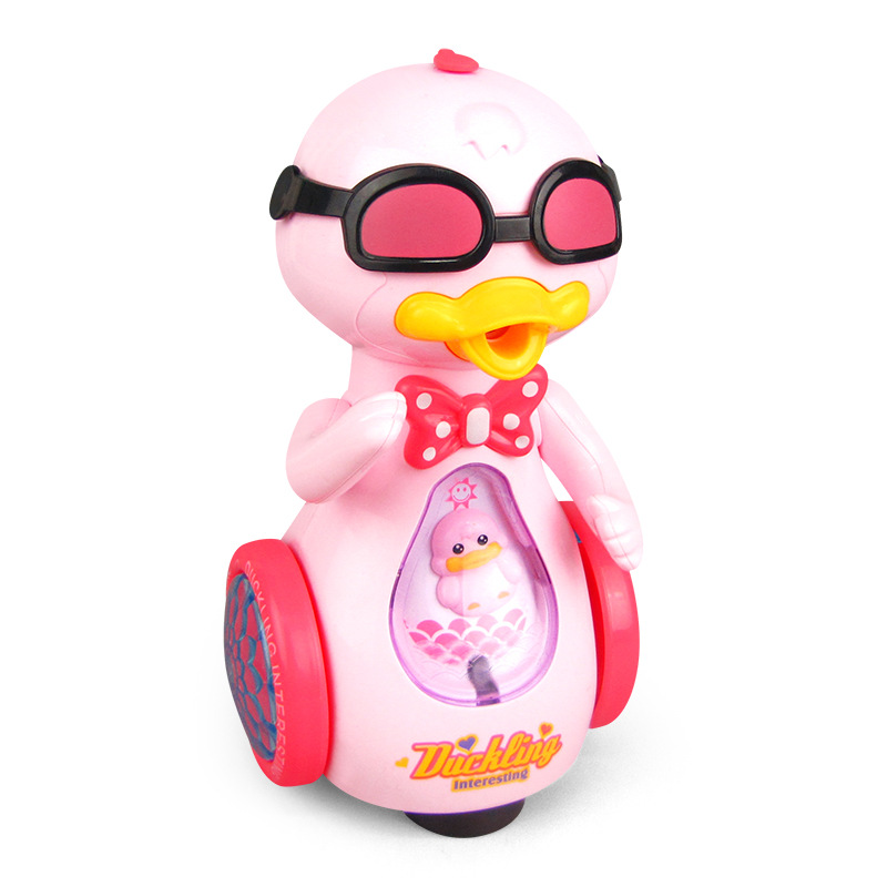 Kids Spray Sunglasses Duck Electric Balance Car With Music Lights Gimbal Duck Toys For Children Bbay Inertial Power Car Toys Gif