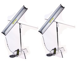 2 kits x 75W 4ft 1bank Fluorescent Light with flicker-free E-ballast as Kinoflo