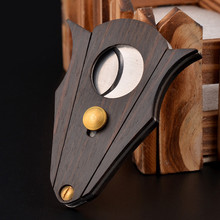 Sandalwood Cohiba Cigar Cutter Double Blade Personality Bat Shape Scissors Cuba Accessories Tool Portable