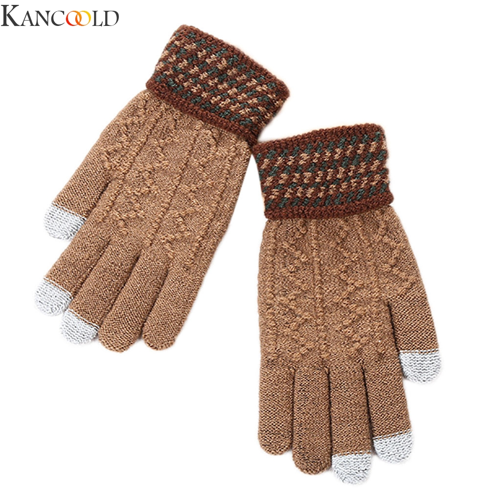 KANCOOLD Hot Selling New Women Men Warm Winter Knitted Full Finger Gloves Mittens Girl Female Solid Woolen Gloves Screen