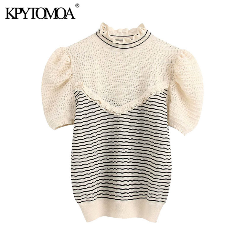 KPYTOMOA Women 2020 Fashion Patchwork Striped Ruffle Knitted Sweater Vintage High Neck Short Sleeve Female Pullovers Chic Tops