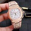 Reloj cronógrafo de cuarzo nuevo de lujo para hombre, reloj de acero inoxidable zafiro, oro rosa, plata, gris, negro, doble huso horario azul