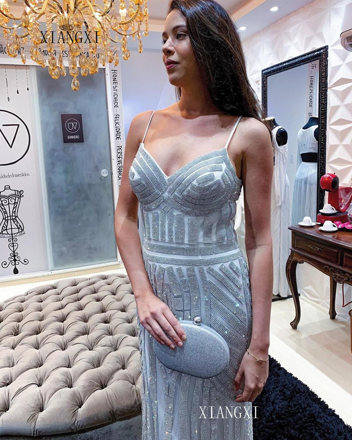 Sexy Mermaid Evening Dresses Spaghetti Strap Crystal Beaded Floor Length Formal Party Dress Long Evening Dress vestidos