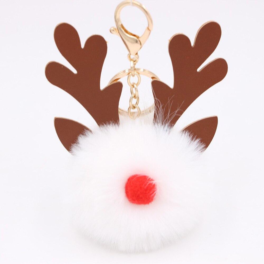 Cartoon Keychian Christmas Moose Hair Ball Keychains Women Charm Bags Keychain Christmas Accessories Pendant Car Key Ring