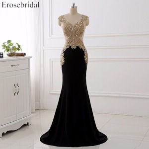 Image 1 - Erosebridal Black Mermaid Evening Dress Long Gold Lace Long Sleeve Evening Dress with Train 8 Colors