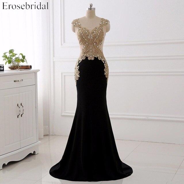 Erosebridal Black Mermaid Evening Dress Long Gold Lace Long Sleeve Evening Dress with Train 8 Colors
