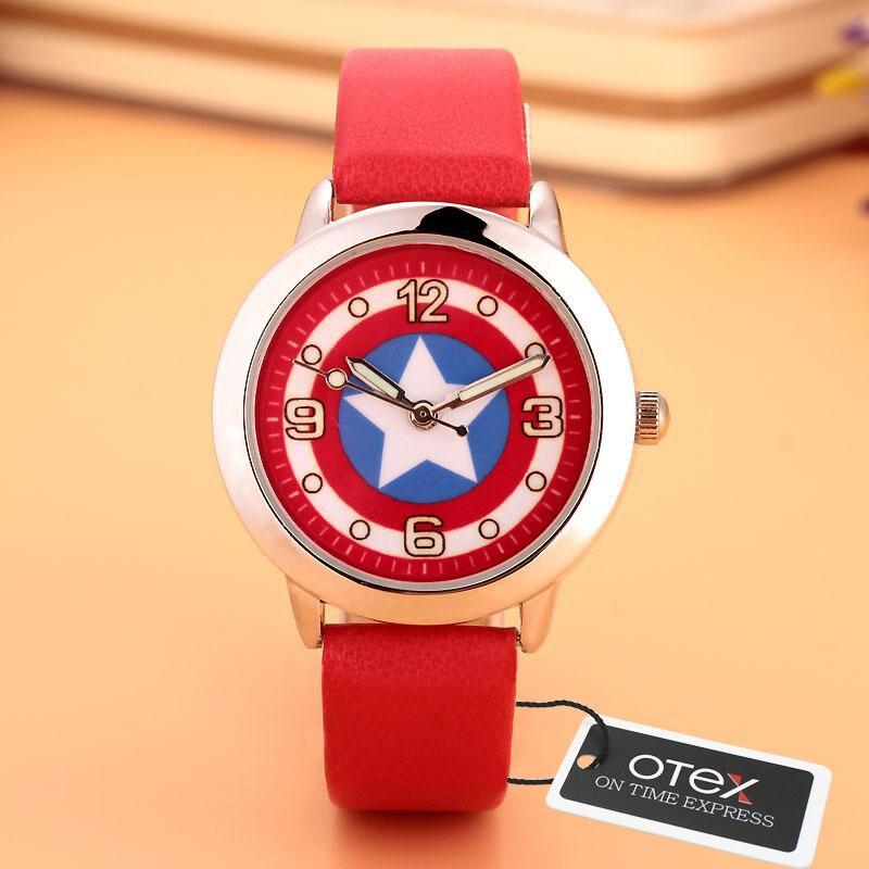 Captain America Civil War Avengers Watch Fashion Watches Quartz Children PU Strap Kids Clock Boys Girls Students Wrist Watch