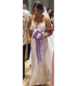 Image 5 - Detachable Train Sheath Wedding Dress High Quality Lace Low Back Deep V Neckline