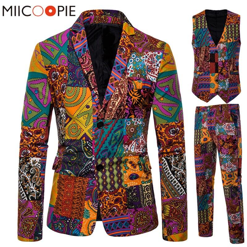 High-End Three piece Suit Men Ethnic Design Multi-print Mens Suits Jackets Business Groom Wedding Male Blazer Vest Trousers