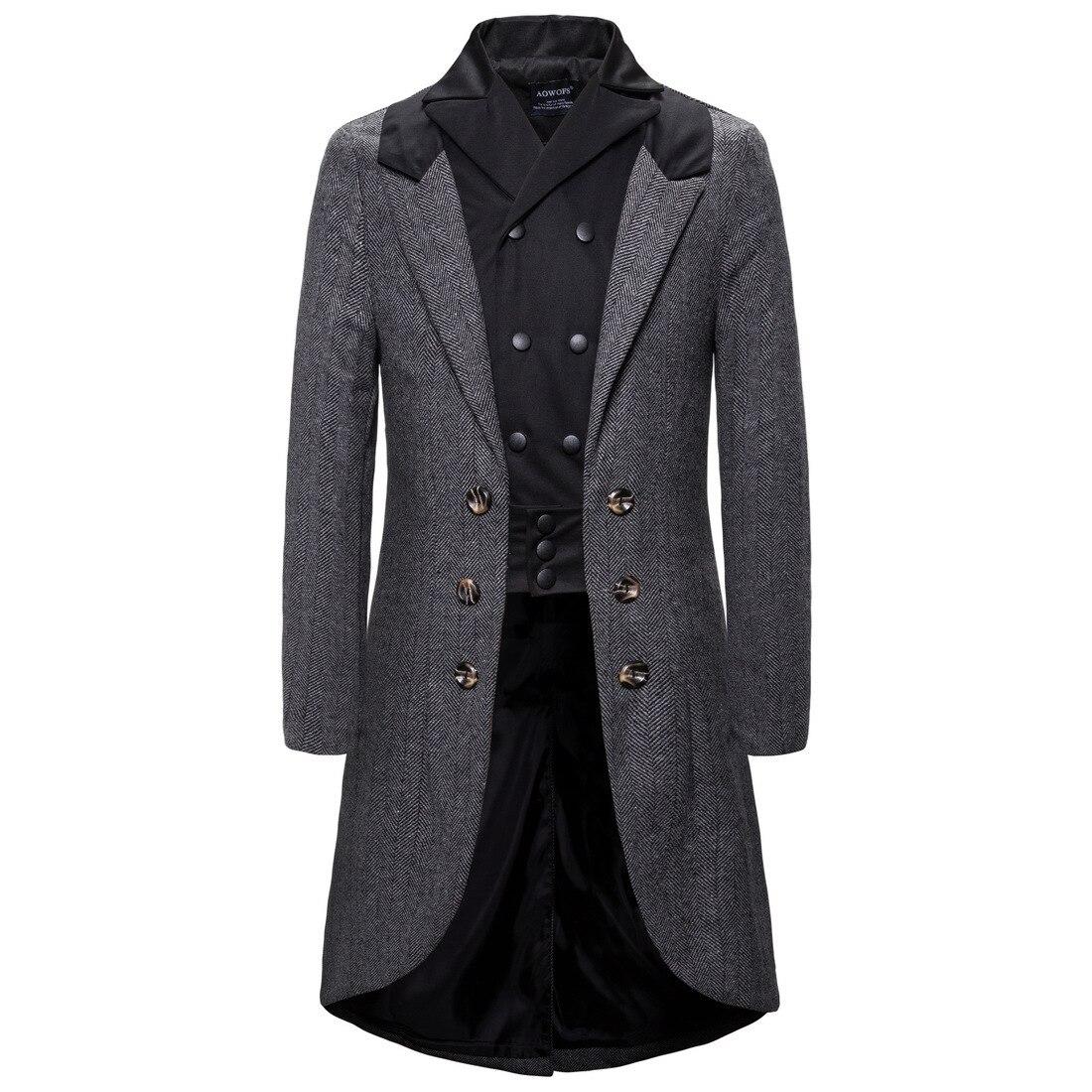 mens wool coats 2020 new hip hop slimming single-breasted men's tweed coat mid-length trench coat