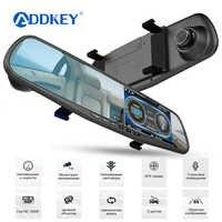 ADDKEY coche DVR Detector de Radar espejo cámara grabadora de vídeo FHD 1080P cámara automática doble lente cámara de visión trasera Speedcam dash cam