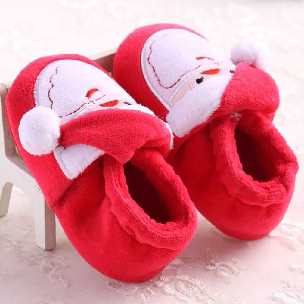 Stylish Christmas Santa Claus Baby Shoes Anti-skid Soft Outsole Cotton Fabric Thick Warm Winter Shoes For Toddlers