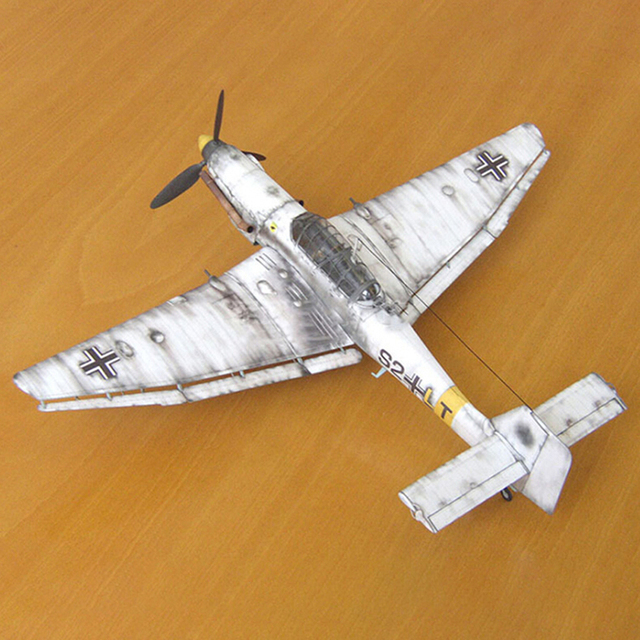 Hot 1:33 Germany Ju-87 Bomber Aircraft Model 3D Paper Model Space Library Papercraft Cardboard House for Children Paper Toys 2