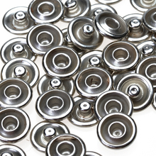 50 Sets No Sew-on Snap Buttons Metal Snaps Fasteners Press Studs Buttons for Sewing, 9.5 mm,Silver