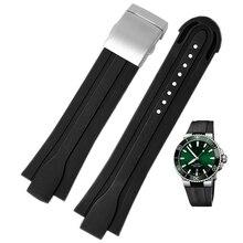Wysokiej jakości 24mm * 12mm końcówka gumy wodoodporny watchband dla mężczyzn Oris nadgarstek pasek silikonowy składane zapięcie ze stali nierdzewnej