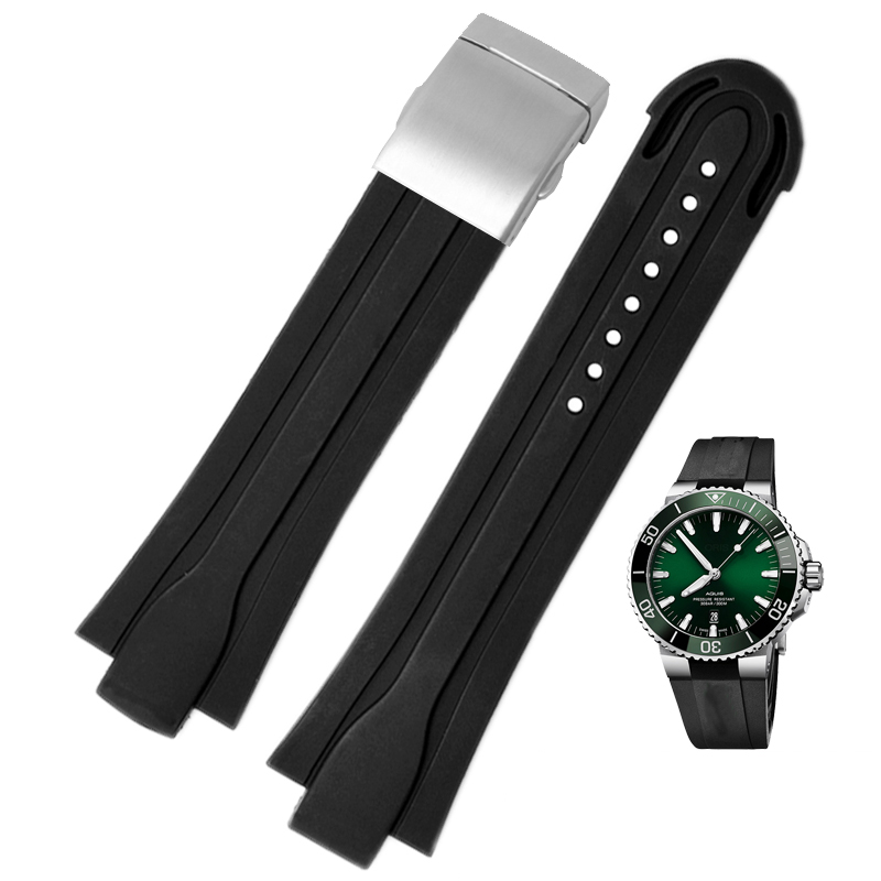 High Quality 24mm*12mm  Lug End Rubber Waterproof Watchband For Men's Oris Wristband Silicone Band Stainless Steel Folding Clasp