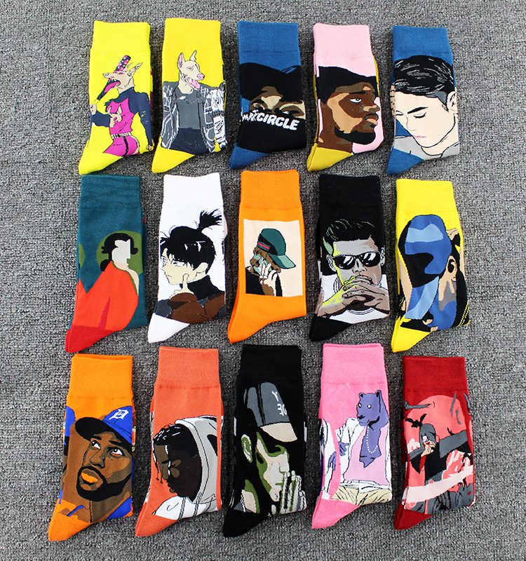 Street Fashion Hip Hop Skateboard Socks Personality Doodle Animal Cartoon Oil Painting Abstract Socks Fun Art Happy Man Socks