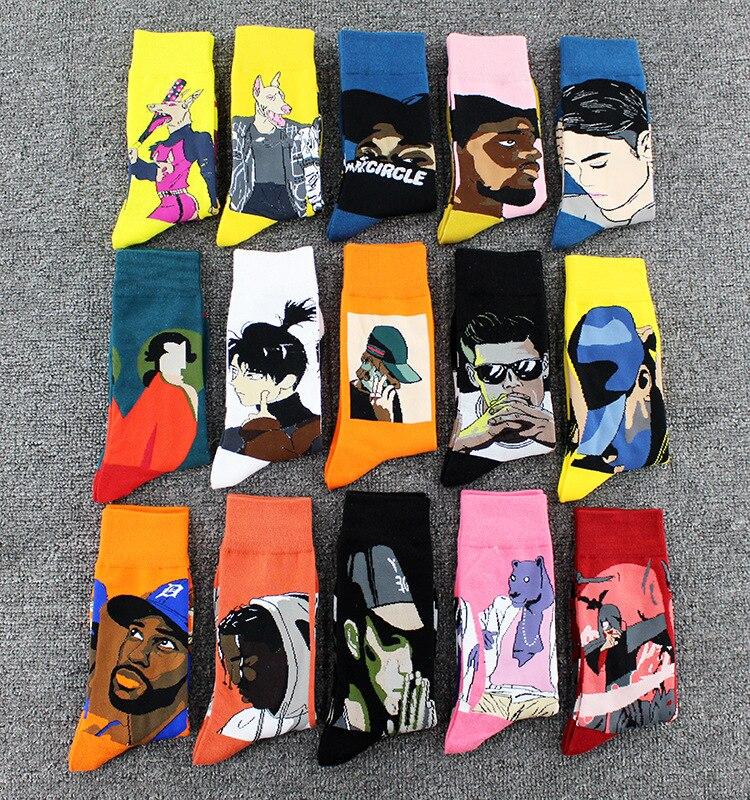 Street Fashion Hip Hop Skateboard Socks Personality Doodle Animal Cartoon Oil Painting Abstract Socks Fun Art Happy Man Socks
