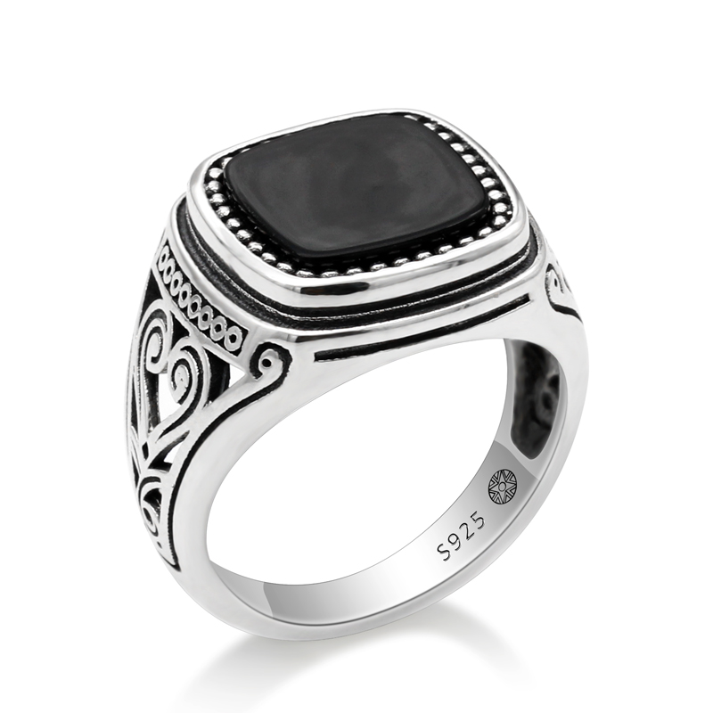 925 Sterling Silver Men Ring with Suqare Natural Stone Carved Design Thai Silver Ring for Women Men Turkish Jewelry