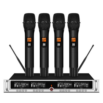 Professional UHF Wireless Microphone Four Channel Handheld Microphone Stage Karaoke