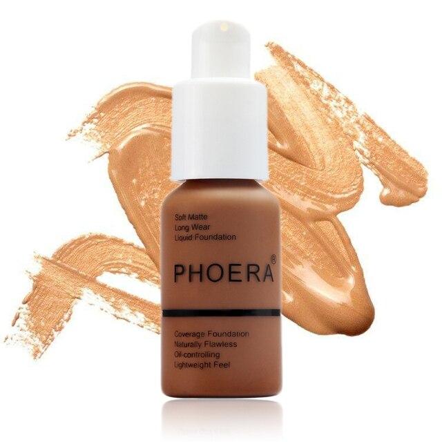 حار PHOERA الأساس مقاوم للماء الأساس ماتي سائل ماكياج الأساس غطاء كامل المخفي كريم maquillaje proesion TSLM1 5